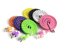 Dual Color Micro USB V8 Flat Noodle Braid USB-кабель для Samsung Galaxy S4 S6 Примечание 2 4 5 HTC LG Sync Data Charging Adapter Lead Cord