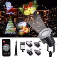 Wholesale Wholesale Snowflake Lights - Christmas Halloween Decoration Projector Light 12 14 15 16 Patterns Outdoor Garden Waterproof Lawn snowflake Landscape lamp Holiday Party