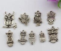 Vendas quentes! 180PCS Antique Silver Zinc Alloy Mixed Owl Charms Pendants 9 - Style DIY Jewelry