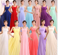 Wholesale Girls Coral Chiffon Dresses - Cheap bridesmaid dresses long chiffon bridesmaids dresses for wedding party plus size prom evening dresses under 50 for women girls US2-24