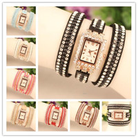 Wholesale Steel Leather Wrap Charms Bracelets - Hot New Wrap Watch WomenLady Wrist Watch Diamonds Rectangular Case Charming Bracelets Watch Mix Colors Free Shipping