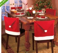 Wholesale Warm Santa Hat - Wholesale Hot Selling Christmas Santa Red Hat Chair Back Covers Chair Home Decorations Warmer Xmas Decor