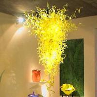 gelber glas-kronleuchter großhandel-Galerie Art Glass Lampen Lemon Yellow Large DIY Hand Craft Pendelleuchte Country Style LED-Leuchten Mundgeblasenem Glas Kronleuchter Lichter