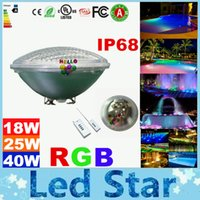 Wholesale Fountain Remote Control - RGB Led Pool Light Bulb AC 12V Underwater Lights Fountains Led 18W 25W 40W Waterproof IP68 Led Pool Light + Remote Control