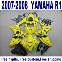 ingrosso yamaha yzf r1 giallo impermeabilizzazione-Carrozzeria Freeship per carene YAMAHA YZF R1 07 08 Carro carene giallo nero YZF-R1 2007 2008 YQ43