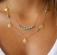 Wholesale Multi Layered Beads - Hot European Simple Gold Plated Multi Layered Chains Turquoise Beads Sequins Necklaces Pendants For Women 10pcs lot