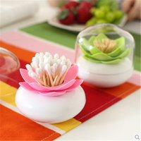 Atacado-Elegante! 2pcs Toothpick Holders com Cap Lotus Flower Vase Algodão Swab Case Bud Home Decor Bin Storage Container Xmas H1421