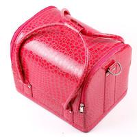 alligator organizer tasche großhandel-Kosmetische Fall-Make-upzug-Kasten 1pcs / lot 5 Farben-Taschen-Frauen-rosa Einkaufstasche bilden den Organisator Multifunktions