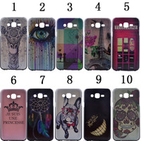 Wholesale Telephones Galaxy - Cartoon Tooth Dreamcatcher Crown Skull Flower Eiffel Tower Hard PC Phone Case For Samsung Galaxy J5 J500 J500F J7 J700 Telephone Skin Cover