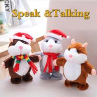 Wholesale dolls speak - Talking Hamster Christmas Speak Talking Sound Nod Hamster 16cm Kids Interactive Plush Stuffed Dolls 100pcs OOA3339