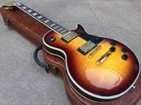 ligação da guitarra do bordo venda por atacado-Personalizado 1959 Flame Maple Top Sunburst Do Vintage Guitarra Elétrica 5 Ply Body binding Rosewood Fingerboard Trapézio Branco Mãe de Pérola Inlay