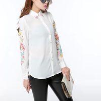 koreanische blüten-chiffon-bluse großhandel-Koreanische Boutique Frühlings-Frauen-Chiffon- Bluse Elegantes weißes Hemd, das verzierte Oberseiten-Blumendruck-Hemd-Büro OL Hemd AD199 bördelt