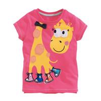 Wholesale Giraffe T Shirt Girls - 2015 New Summer Girl T-shirts 5126 Giraffe Rose Cartoon Short Sleeve T-shirts 1-6Y