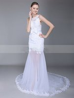 Wholesale Gold Allure Bridal - Elegant Sheer Skirt Wedding Dresses With Long Train Vintage Sheer See Through Wedding Dress Plus Size Wedding Gowns Allure Bridal Gowns