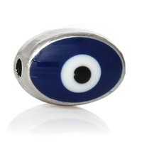 blue evil eye beads - Spacer Beads Oval Enamel Dark blue Silver Tone Evil Eye Pattern About mm x mm Hole Approx mm new