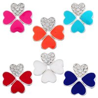 Wholesale Clover Nose Rings - 1PC Silver Plated Connector For DIY Jewelry Enamel Clover Shape White Rhinestone (Over $120 Free Express)