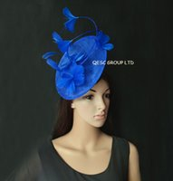 Wholesale royal blue wedding hats online - New Arrival Royal blue Feather  Fascinator sinamay hat for d675a801eba