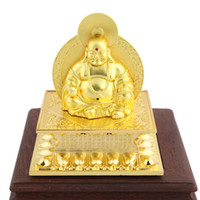 Wholesale Hanging Seat Swing - Gold-plated automobile grade alloy ingots laughing Buddha statues sided gift ornaments perfume seat ornaments wholesale swing