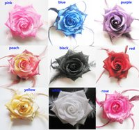 Hot Selling Feather Flower Hair Clip Brooch Rose Flower Acessórios para cabelo Elastic Pin 50pcs / Lot Frete grátis