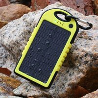 Wholesale Monocrystalline Solar Charger Mobile - Solar power bank Charger and Battery Solar Panel 5000mAh waterproof shockproof Dustproof portable power bank for iphone 6 Mobile Cellphone
