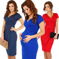 Wholesale maternity clothes summer dresses online - Women Summer Dresses Pregant Sexy V neck High Elastic Bodycon Maternity Dress Plus Size Clothing For Pregnant