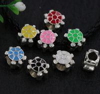 Wholesale Enamel Loose Beads - 50pcs lot Silver Enamel Assorted of Color Sea Turtles Big Hole Loose Beads European Bead Fit Bracelets 4.5mm Hole 8Colors
