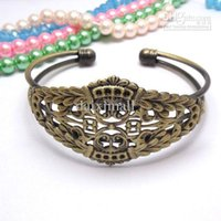 Wholesale Wholesale Bronze Filigree - Min Order 10pcs Wholesale ANTIQUE BRONZE Filigree Adjustable Cuff Bangle and Bracelets Blank for Women DIY Jewelry Findings