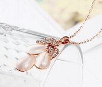 Wholesale United Environmental - Free Shipping - Europe and the United States environmental protection alloy jewelry wholesale drop shaped opal necklace inlaid Ms. lady