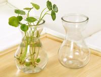 jarrones de cristal transparente al por mayor-Jarrón claro de cristal caliente Jarrón claro Botella de flor Jarrón de cristal de decoración del hogar Decoración de la boda
