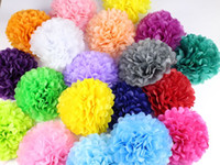 "Wholesale Paper Tissue Pompom - Wholesale-30pcs 4"" 6"" 8""(10cm 15cm 20cm) Tissue Paper Pompoms Mix Color Flower Balls Wedding Pom Poms Wedding supplies Decoration"