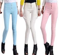 Wholesale High Waisted Capris Plus Size - Ladies Slim Summer Autumn Slim Capris Trousers High Waisted with Pocket Button Lolita Hot Pants Plus size 4XL 3XL Clothes