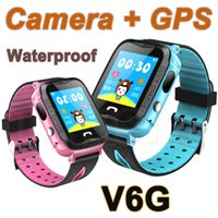Wholesale baby trackers - IP67 Waterproof V6G Smart Watch GPS Tracker Monitor SOS Call with Camera Lighting Baby Swimming Smartwatch for Kids Child