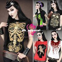 Wholesale Skull Womens Shirts - NEW Womens Skull Punk Rock T-shirt Cool Undead Zombie Goth Tee Shirt Top B20E