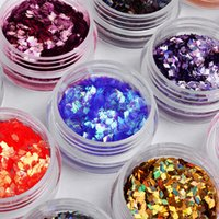Wholesale rhombus nail art - Wholesale-12 Colors set Nail Art Nail Glitter Acrylic 3D Rhombus Glitter Shape Sequins Powder Set for Nail Decoration M01213