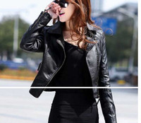 Wholesale New Leather Clothing - Wholesale-2014 new leather jacket women Winter Women Coat Short Zipper Motorcycle Jacket Pu Leather Clothes outerwear free shipping brazil