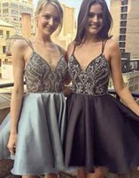 Wholesale Grey V Neck Cocktail Dress - 2018 Black Grey Short Evening Prom Dress Cheap With Spaghetti Straps A line Satin Beaded Rhinestones Homecoming Cocktail Dresses Cheap