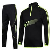 Wholesale Long Sleeve Professional Clothing - New Professional Men Football Clothing Suit Kids Soccer Training Pantalon Skinny Leg Pants Long Sleeved Jacket Set XXS-4XL