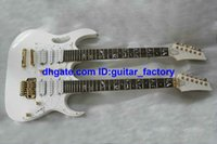 Wholesale Guitar String Trees - Custom Double Neck Electric Guitar IN White tree of life Fingerboard Mosaic 6 Strings AND 6 Strings
