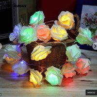 Wholesale Battery Powered Rose Light - Wholesale- YINGTOUMAN 2.2 Meter Battery Powered 20 LED Rose Flower String Fairy Lights Wedding Home Birthday New Year Event Party Christmas