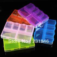 Wholesale Arts Crafts Rhinestones - Wholesales 10 PCS Empty Plastic Storage Case Box Container 6 Cells Nail Art Craft Rhinestone Decoration Gems