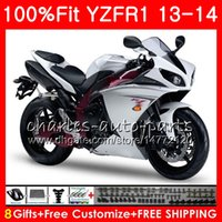 Wholesale gold yamaha - Injection Body For YAMAHA YZF 1000 YZF R 1 Pearl White YZF-1000 YZF-R1 13 14 86NO19 YZF1000 YZFR1 13 14 YZF R1 2013 2014 Fairing kit 100%Fit
