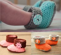 Wholesale Crochet Baby Booties Button - Soft Knitted toddler snow Booties!photo prop Crochet baby snow shoes,cotton yarn winter button walking shoes,girls warm shoes.8pairs 16pcs