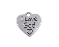 Wholesale Tibetan Silver Love Word Charms - 60PCS Tibetan Silver I Love God Word Heart Charms Pendants A36244