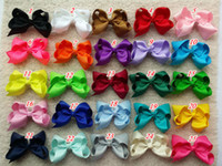 Wholesale Girls Bow Stockings - 10% OFF 4 inch 160 pcs lot hair bow - Girl hair bow Toddler hair bows Baby hair bows Grosgrain ribbon hairbow Double Alligator clip in stock