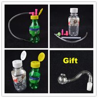 "Wholesale Bottling Bucket - Mini Plastic Oil Rig Portable Smoking 10mm joint Stoned Spring Water Mineral Water Bottle Shaped 4"" inch with Hose Free Curved Bucket Bowl"