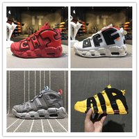 Wholesale Cheap Baskets For Sale - Newest design Air More Uptempo QS Chicago Black University Red-White gray yellow Mesn Basketball Shoes Cheap for Sale Size 35-45