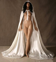 Wholesale Hooded Bridal - Custom made New Cheap Romantic 2017 Cheap Hooded Bridal Cape Ivory White Long Wedding Cloaks With Satin Wedding Bridal Wraps Bridal Cloak