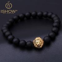 Wholesale Lionhead Chains - I SHOW Mens Bracelets Mat Agate natural Stone Beads bracelet Antique Gold Lionhead Bracelet pulseira masculina pulseras hombre