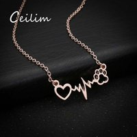 3 colores Love Cats And Dogs Paws y Heart Heartbeat Collar Rose Gold Paw Collares Colgantes Bellamente Animal Vintage Jewelry Nuevo