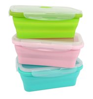 Wholesale Plastic Household Products - Foldable Silicone Lunch Box Food Storage Containers Household Food Fruits Holder Camping Road Trip Portable Microwave Oven Bento Box